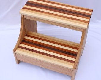 Striped Step Stool, Wood Step Stool, Wooden Step Stool, Solid Wood Step Stool, Toddler Stool, Kids Step Stool, Bedside Stool, Library Steps