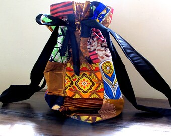 African-Ankara-Fabric-Kitenge-Batik-Draw String Shoulder Bag