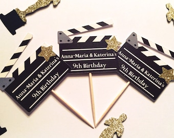 Personalized Movie Clapperboard Cupcake Toppers | Hollywood Party Decor | Movie Night | Movie Theme | Hollywood Theme