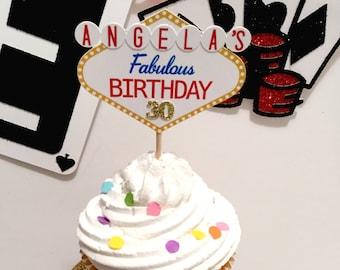 Las Vegas Cupcake Toppers | Vegas Theme Decor | Casino Theme | Vegas Birthday | Game Night