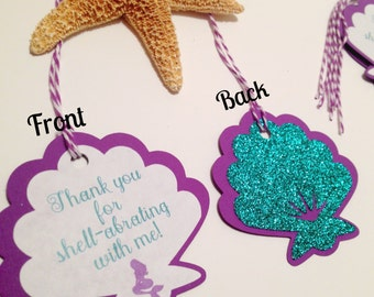 Mermaid Party Tags (Under the Sea, Seashell, Mermaid Party)