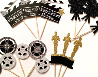 Movie Night Cupcake Variety Pack   Movie Cupcake Toppers   Hollywood Theme Toppers