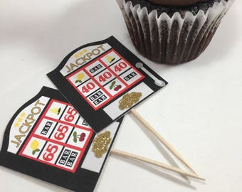Slot Machine Cupcake Toppers | Casino Theme | Vegas Theme Decor | Vegas Cupcakes