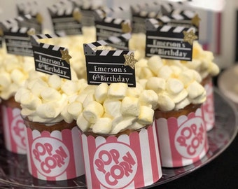 Personalized Movie Clapperboard Cupcake Toppers. Hollywood Party Decor. Movie Night. Movie Theme. Hollywood Theme.