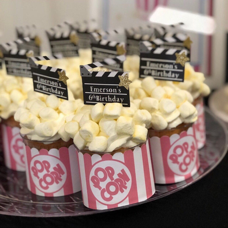 Personalized Movie Clapperboard Cupcake Toppers. Hollywood image 0