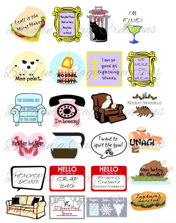 Friends Stickers Friends Theme Party Decorations Friends Etsy