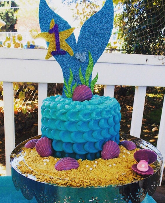 Mermaid Tail Cake Topper Under The Sea Party Mermaid Theme Etsy