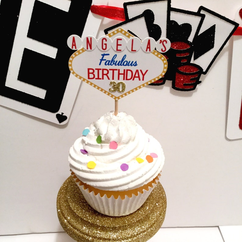 Las Vegas Cupcake Toppers Set Of 12 Theme Decor