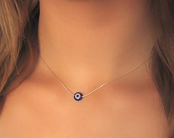 Silver Evil Eye Necklace ,  925 Silver Necklace , Blue Evil Eye Necklace , Bridesmaid Gift , Delicate Necklace , Layering Necklace ,
