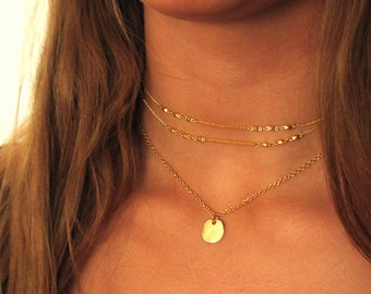 Layered Necklace Set , Delicate Necklace , Disc Necklace , Dainty Gold Necklace , Double Strand , Minimal Necklace , Multi Layer Necklace