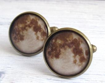 Moon Cufflinks ,  full Moon Cufflinks , Space Cufflinks , Wedding Cufflinks , Planet Cufflinks , Moon Cuff Links , Galaxy Cufflinks