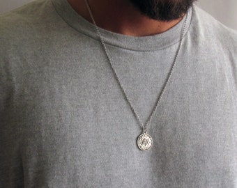 5375b7cc76 Mens Coin Necklace , Mens Silver Necklace , Guys Necklace , Mens Necklace , Mens  Jewelry , Necklaces For Men , Jewelry For Men ,