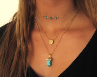 Layering Necklaces Set , Choker , Turquoise Necklace , Layered Necklace , Multi Layer Necklace , Dainty Necklace , Everyday Necklace