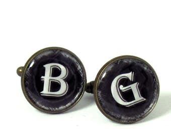 Monogram Cufflinks - Personalized Mens Cufflinks - Initial Cufflinks - Custom Cufflinks - Groomsmen Cufflinks - Name Cufflinks -