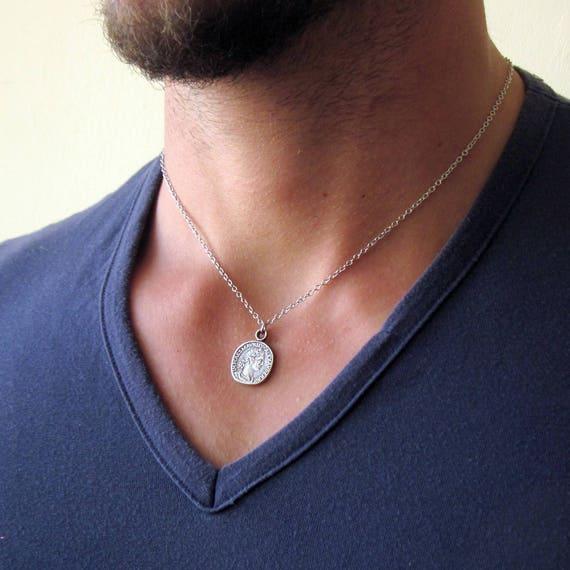 cf78d4dd63e4c Mens Coin Necklace , Silver Coin Necklace , Coin Pendant , Mens Necklace ,  Coin Jewellery , Man Gift , Greek Coin Necklace , Boyfriend Gift