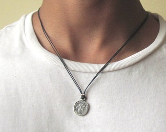 Mens necklace etsy mens coin necklace silver coin necklace coin pendant mens necklace coin jewellery aloadofball Image collections