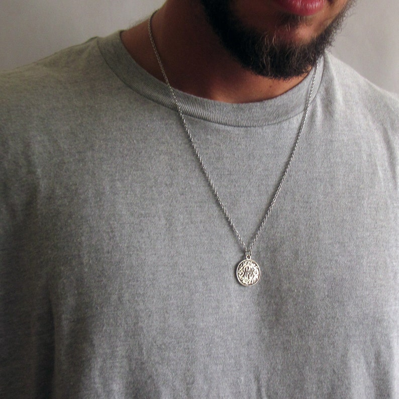504cf9b890b12 Mens Coin Necklace , Mens Silver Necklace , Guys Necklace , Mens Necklace ,  Mens Jewelry , Necklaces For Men , Jewelry For Men ,