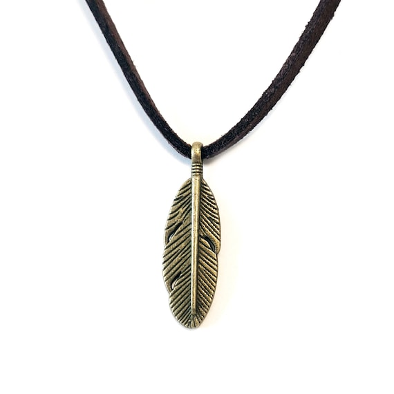 Feather feather collar brass cord simili suede real 3 mm imitation black leather