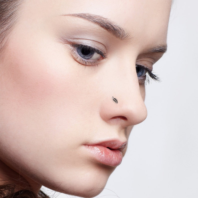 Earrings For Pierced Nose Nose Earring Nostril Stud Nose Jewelry Silver Nose Stud Nose Piercing Tiny Nose Stud Leaf Nose Stud