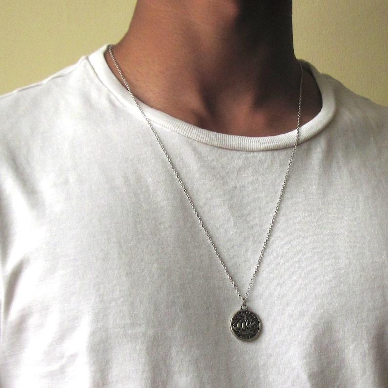 9bd2afe3a0eab Silver Coin Necklace , Mens Silver Necklace , Mens Necklace , Ancient Coin  Pendant , Necklace For Men , Guy Necklace , Circle Necklace
