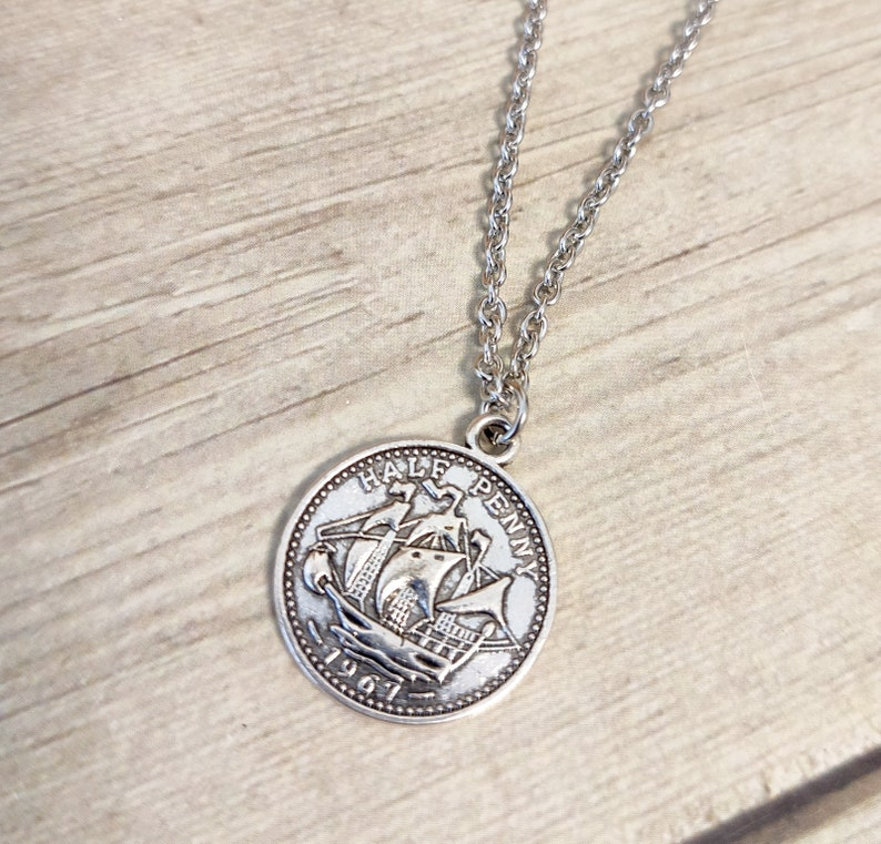09964dac834d0 Mens Coin Necklace , Silver Mens Necklace , Men's Necklaces , Coin Necklace  , Nautical Necklace , Boyfriend Necklace , Male Necklace