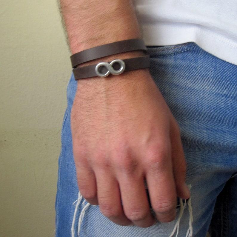 Man Silver Infinity Bracelet Friendship Bracelet Mens Leather Bracelet Mens Infinity Wrap Bracelet Charm Bracelet