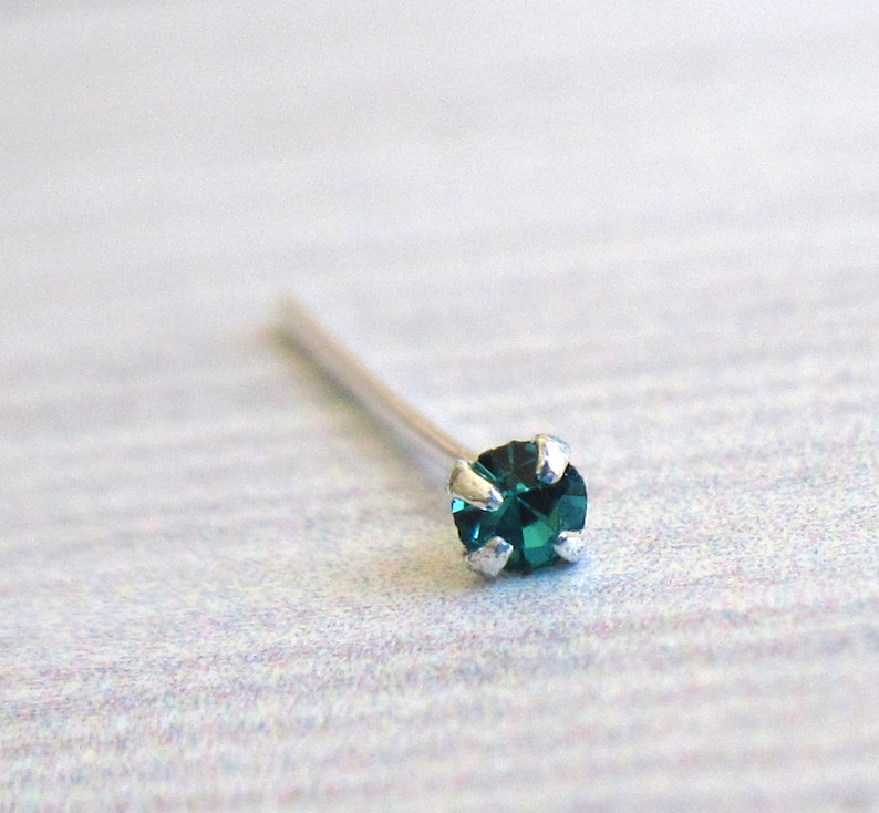 Silver Turquoise Crystal Nose Stud Pierced Nose Nostril Stud Nose Piercing Nose Jewelry Silver Nose Stud Tiny Nose Stud