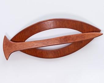 004 Fibula and hair clip made of wood, like photo