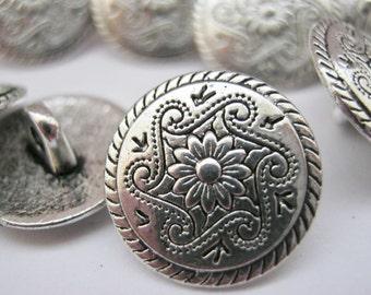4615dfc2dce 10 Silver Flower Metal Shank Buttons 15mm (5 8