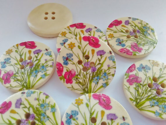 """Pink Blossom Tree Focal Clothes Button 5 Pink Blossom Sewing Buttons 25mm 1/"""""""