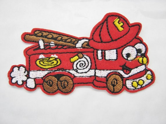 FIRE BOY AND DOG IRON ON PATCH APPLIQUE  2 1//4 X 2 1//2 inch