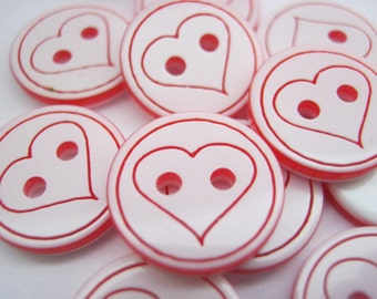 "10 White Red Hearts Buttons 12mm (1/2"" inch)  Resin Sewing Button Childrens Clothing Crafts Embellishments"