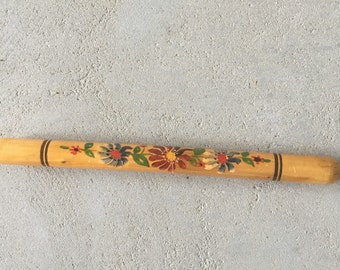 Vintage wooden knitting case - needle case - knitting needle container - flowers