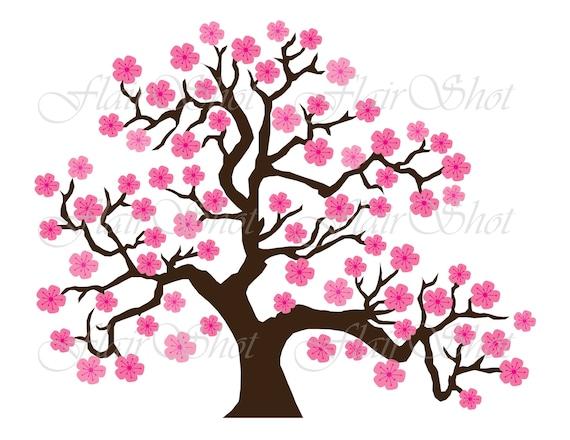 digital clip art pink cherry blossom tree clipart bonsai etsy rh etsy com Pink Owl Tree Clip Art pink palm tree clip art