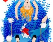 Alice in Wonderland II - Illustration- Art Print - Handmade