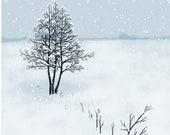 White landscape custom digital illustration