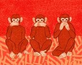Tree wise monkeys digital illustration