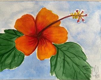Original Handmade Watercolor Painting Tropical Flowers: Orange + Red Hibiscus 2
