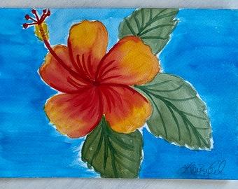 Original Handmade Watercolor Painting Tropical Flowers: Oranges + Golds