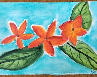 Original Handmade Watercolor Painting Tropical Flowers: Sunset Plumerias 2