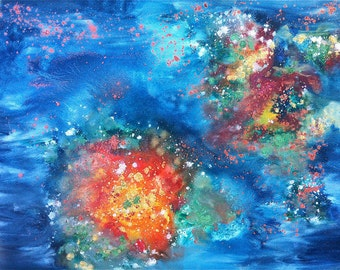 Lagoon Nebula II-Abstract Paintings of the Earth and the Cosmos-Signed Archival Fine Art Print