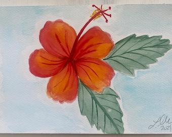 Original Handmade Watercolor Painting Tropical Flowers: Orange + Red Hibiscus 3