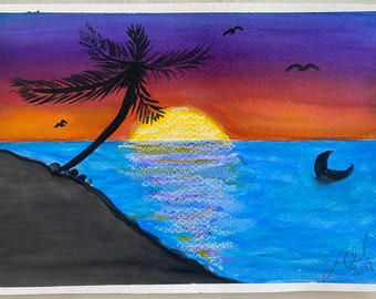 Original Handmade Watercolor Painting ~ Tropical Sunset Landscape with Whale Tale