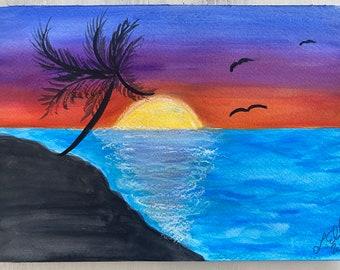 Original Handmade Watercolor Painting ~ Tropical Sunset Landscape 2