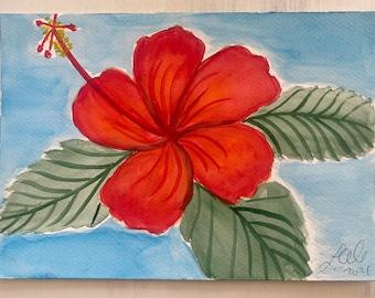 Original Handmade Watercolor Painting Tropical Flowers: Orange + Red Hibiscus 4