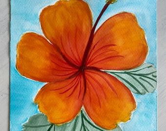 Original Handmade Watercolor Painting Tropical Flowers: Oranges + Golds 1