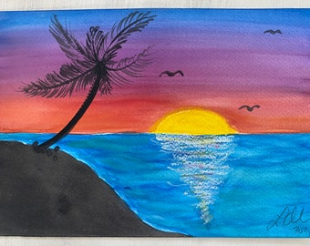 Original Handmade Watercolor Painting ~ Tropical Sunset Landscape 4