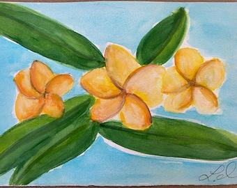 Original Handmade Watercolor Painting Tropical Flowers: Golden Plumerias