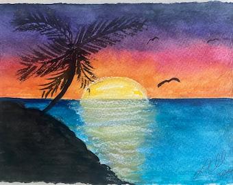 Handmade Original Watercolor Painting ~ Tropical Sunset Landscape