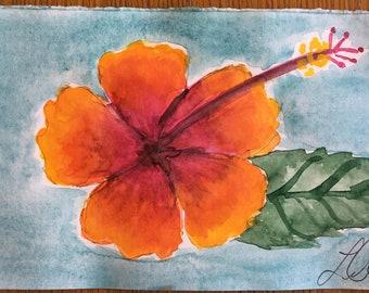 Original Handmade Watercolor Painting Tropical Flowers: Orange +Red Hibiscus
